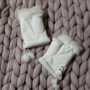 White Winter Fingerless Gloves